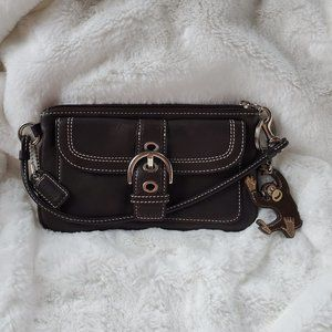 Coach Leather Wristlet Brown with Coach Keychain